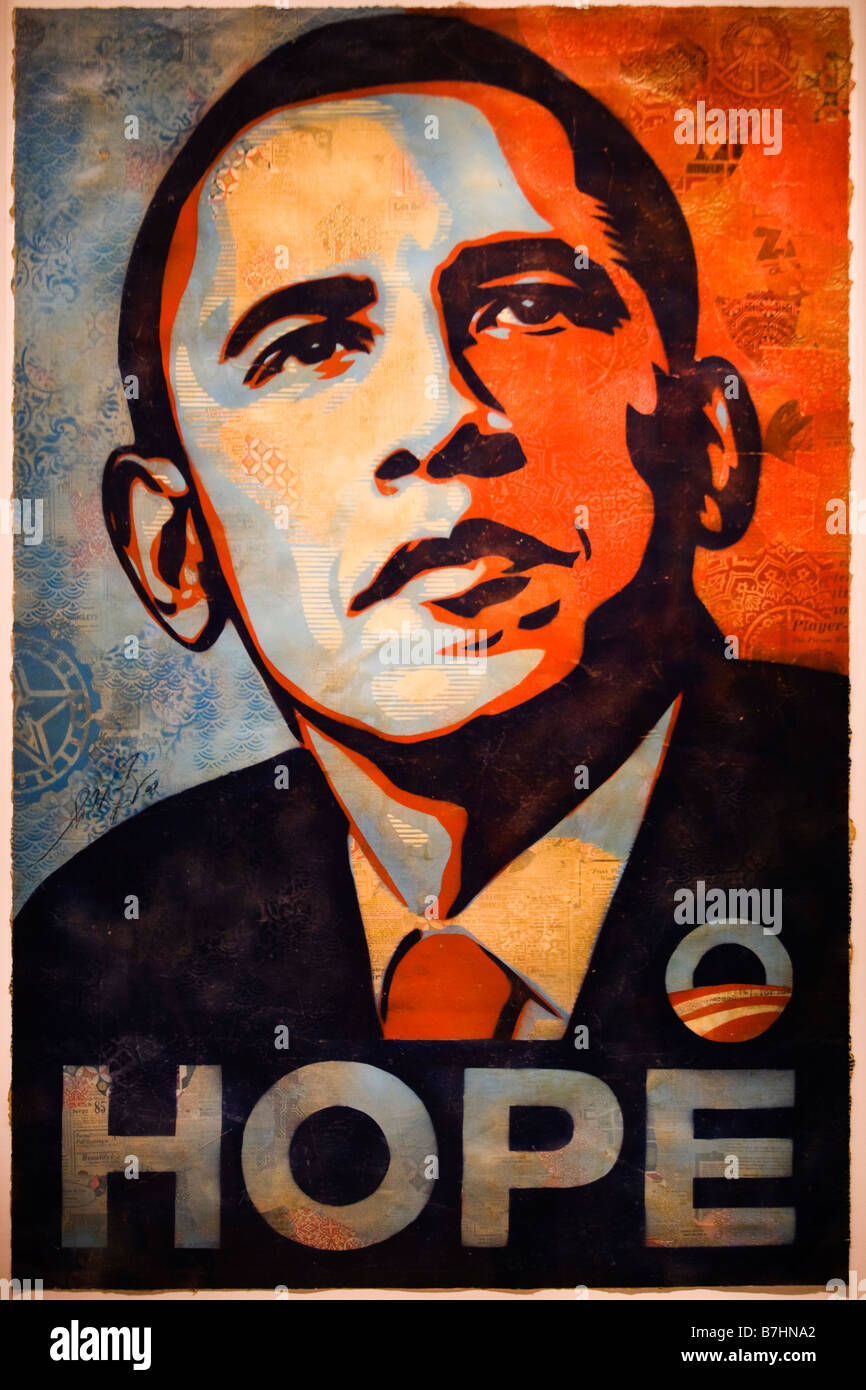"Barack Obama ""Hoffen"" Porträtmalerei von Shepard Fairey - National Portrait Gallery, Washington, Stockbild"
