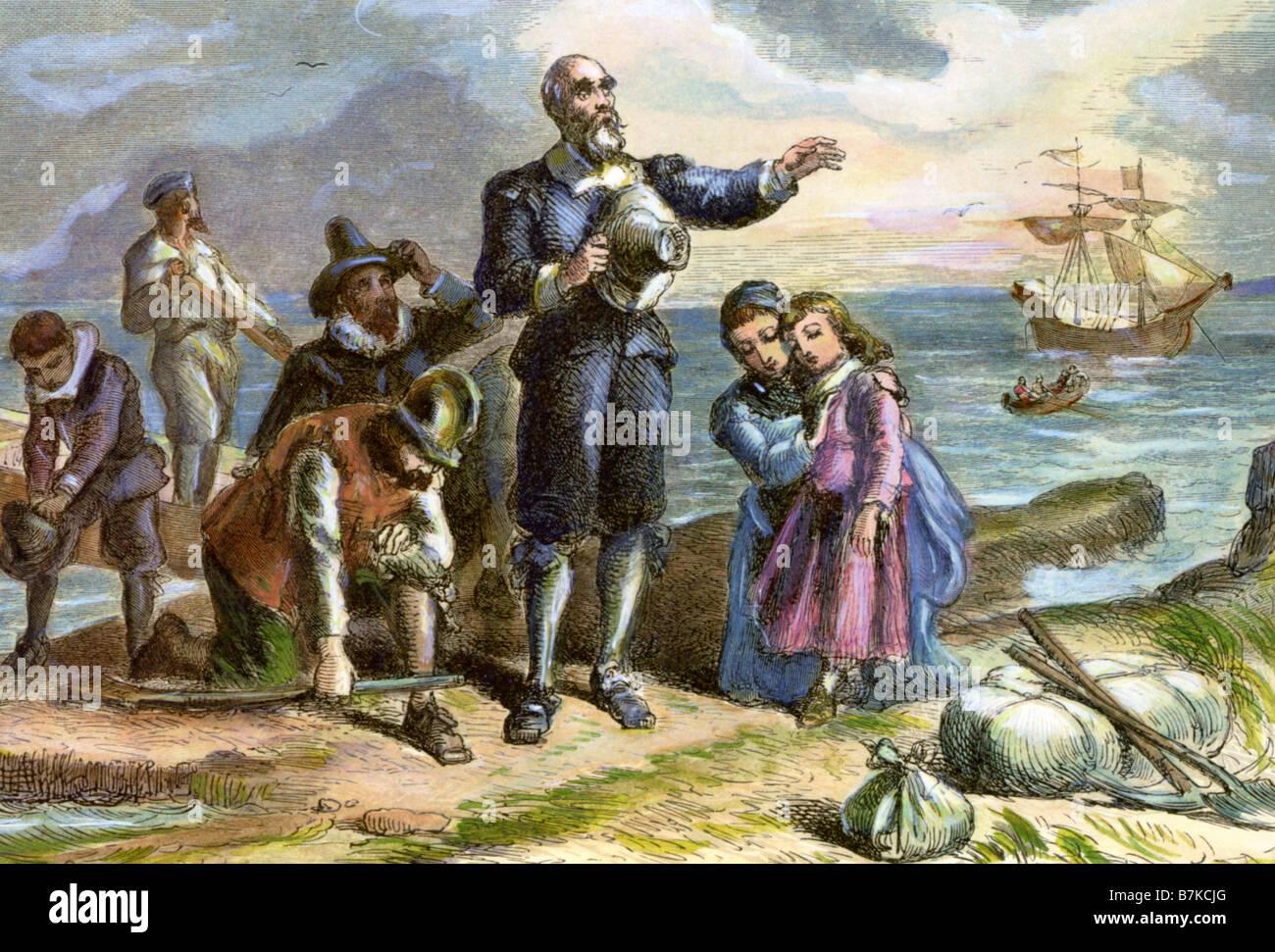 PILGRIM FATHERS englischen puritanischen Kolonisten, die in der Mayflower segelte top Nordamerika im Jahre 1620 Stockbild