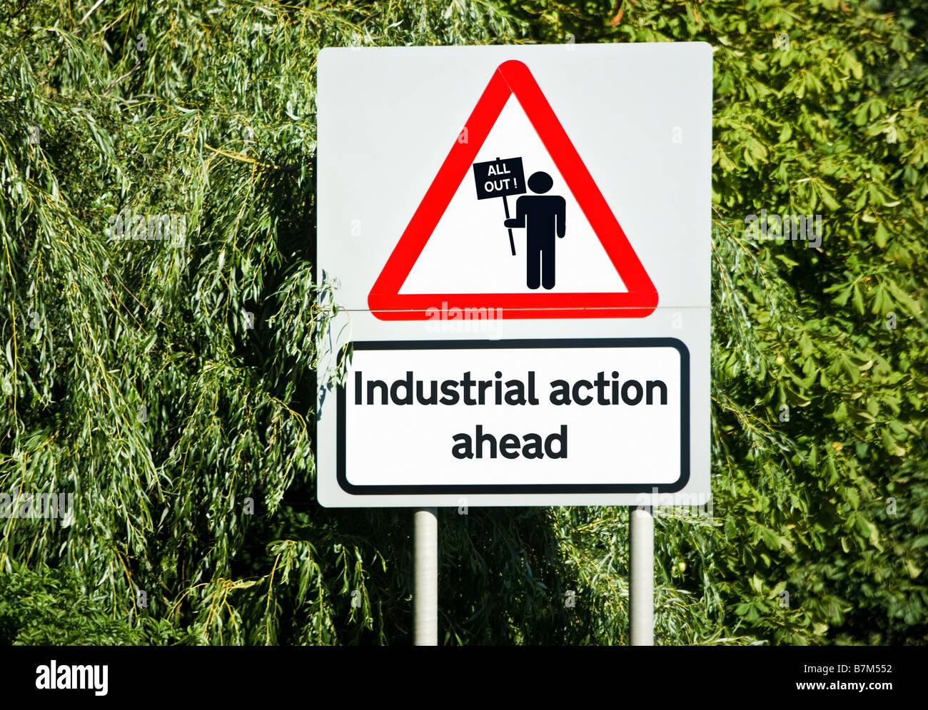 Arbeitskämpfe, Streiks Konzept Zeichen UK Stockbild