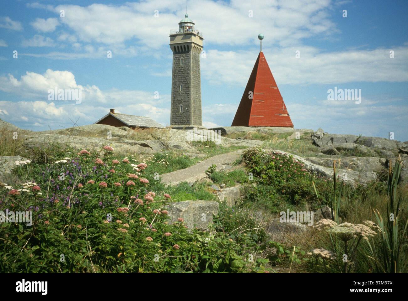 Vinga Leuchtfeuer und Leuchtturm in der Nähe von Göteborg, Schweden Stockbild