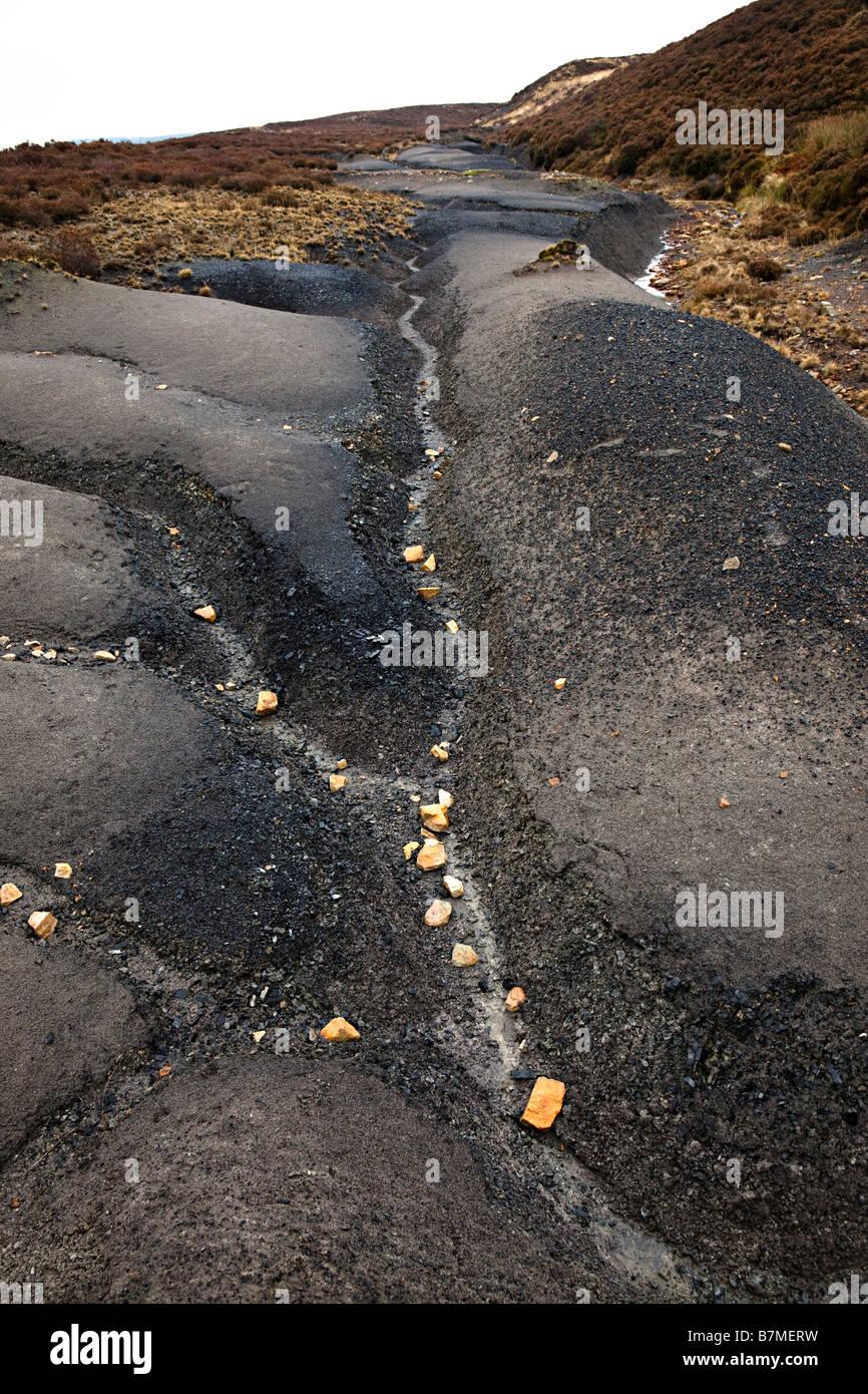Erodierte Oberfläche des alten Kohle verwöhnen Heap Pwll Du Wales UK Stockbild