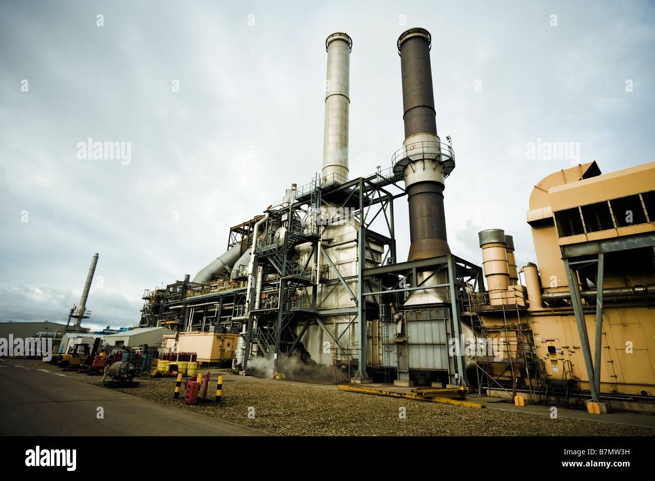 Power Station Rohre und Schornsteine, England, UK-gasgefeuerten Anlage Anlage, North East England Stockbild