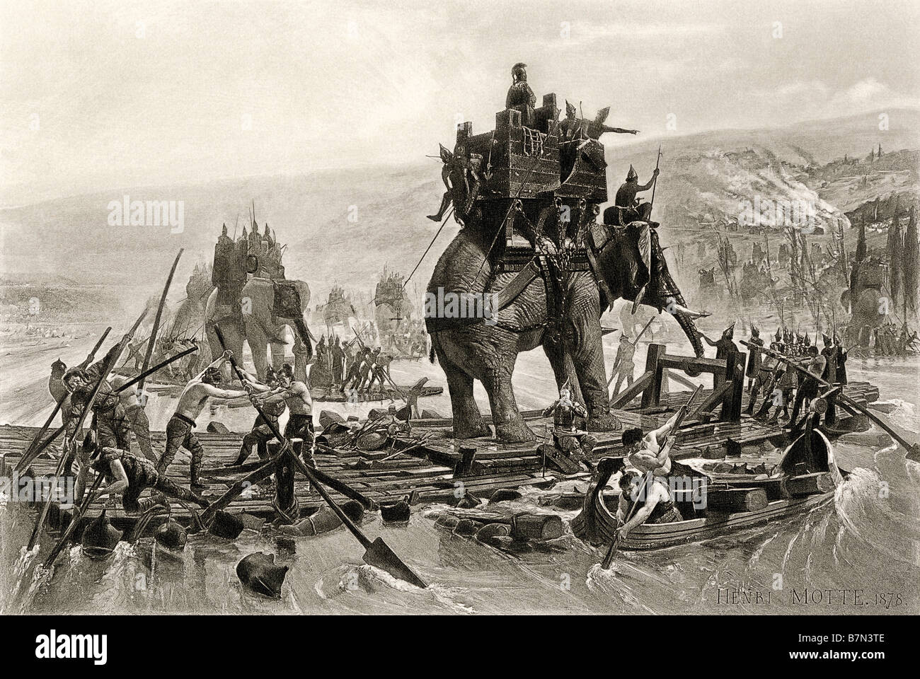 Hannibals Armee der Rhone Kreuzung in Gallien Rom über die Alpen 218 v. Chr. in Angriff zu nehmen. Photogravure Stockbild
