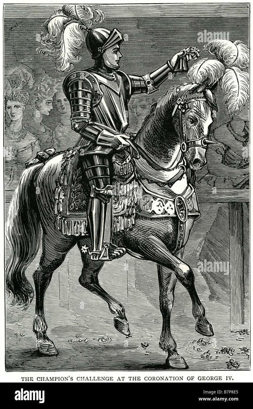 Champions Challenge Krönung Georg IV Reiten Rüstung königlichen Lizenzgebühren paradieren Garten Stockbild