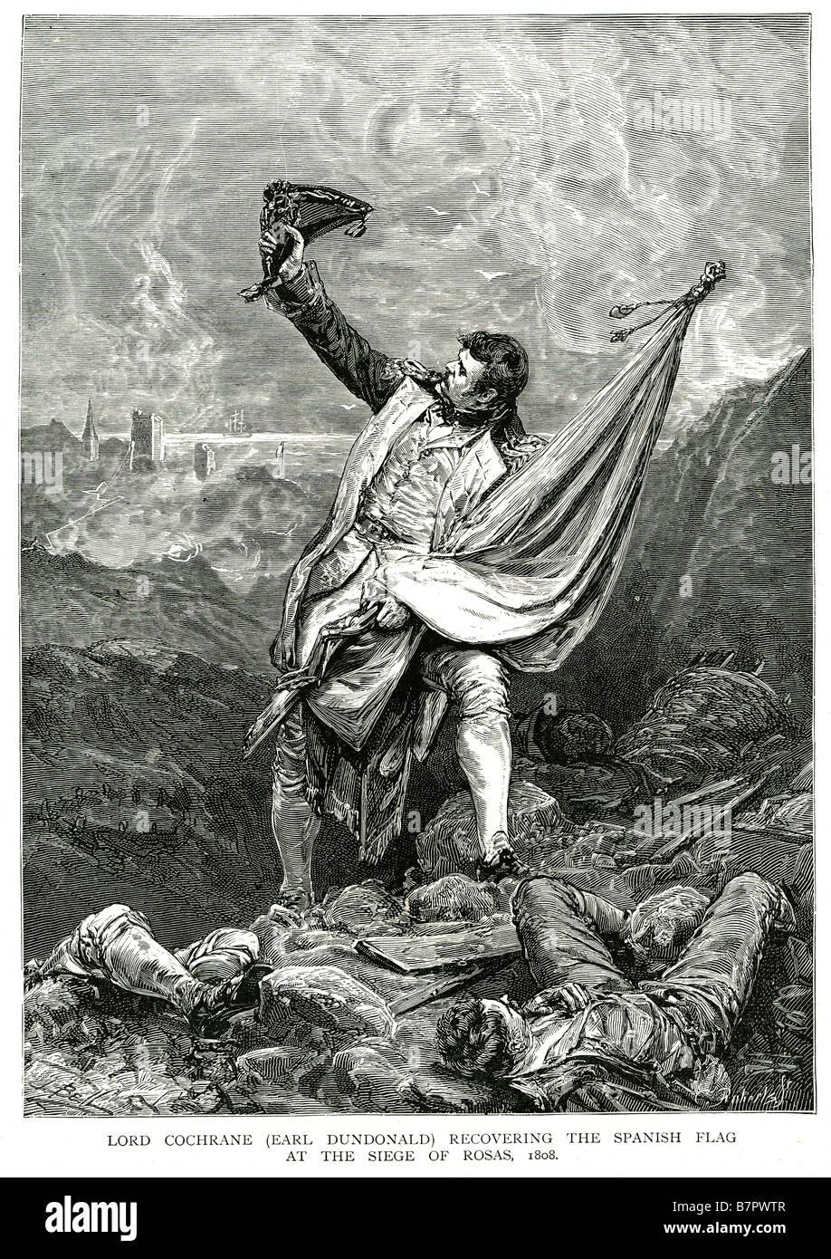 Herrn Cochraine Grafen Dundonald erholt sich die spanische Flagge bei der Belagerung von Rosas 1808 Vize-Admiral Stockbild
