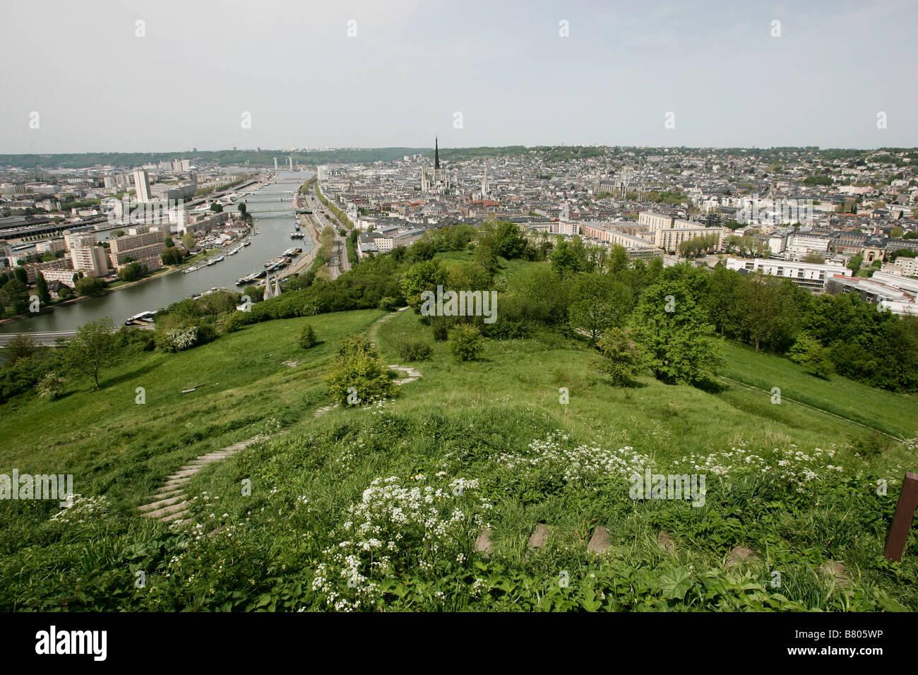 Luftaufnahme von Rouen Frankreich Stockbild