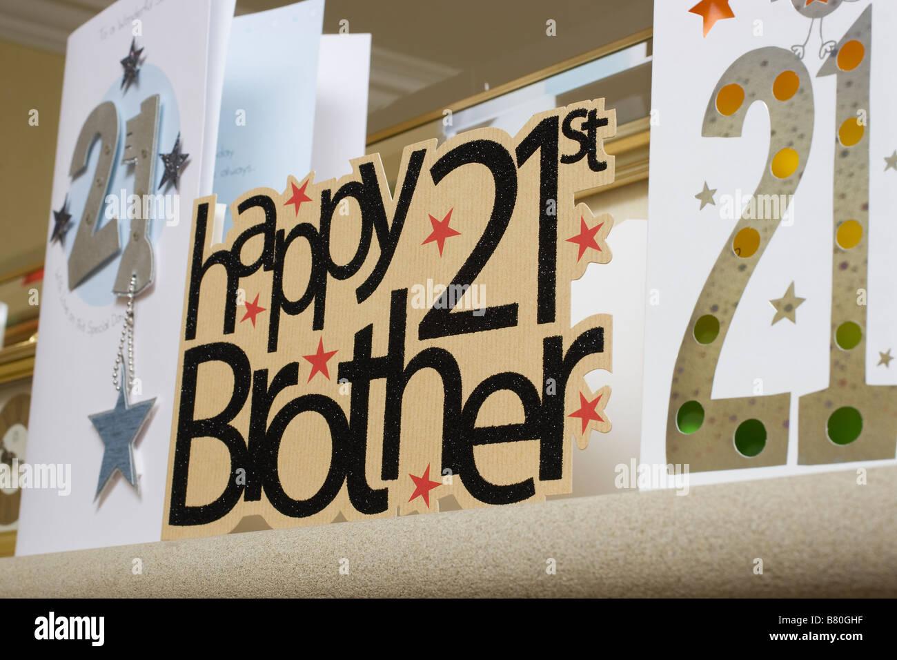21 Geburtstag Feier Karten Fur Einen Bruder Stockfoto Bild