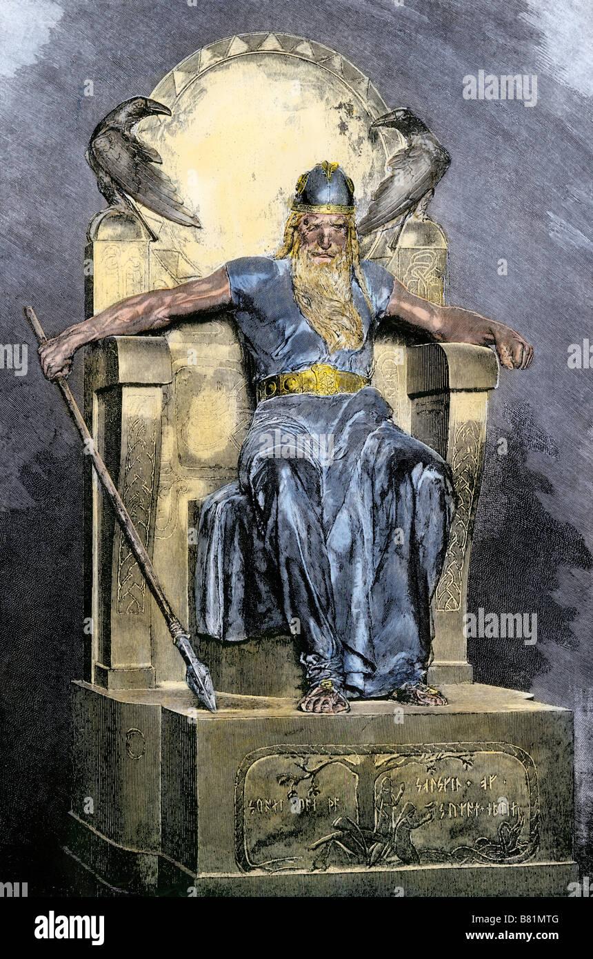 Odin, dem obersten Gott in der nordischen Mythologie. Hand - farbige Holzschnitt Stockbild