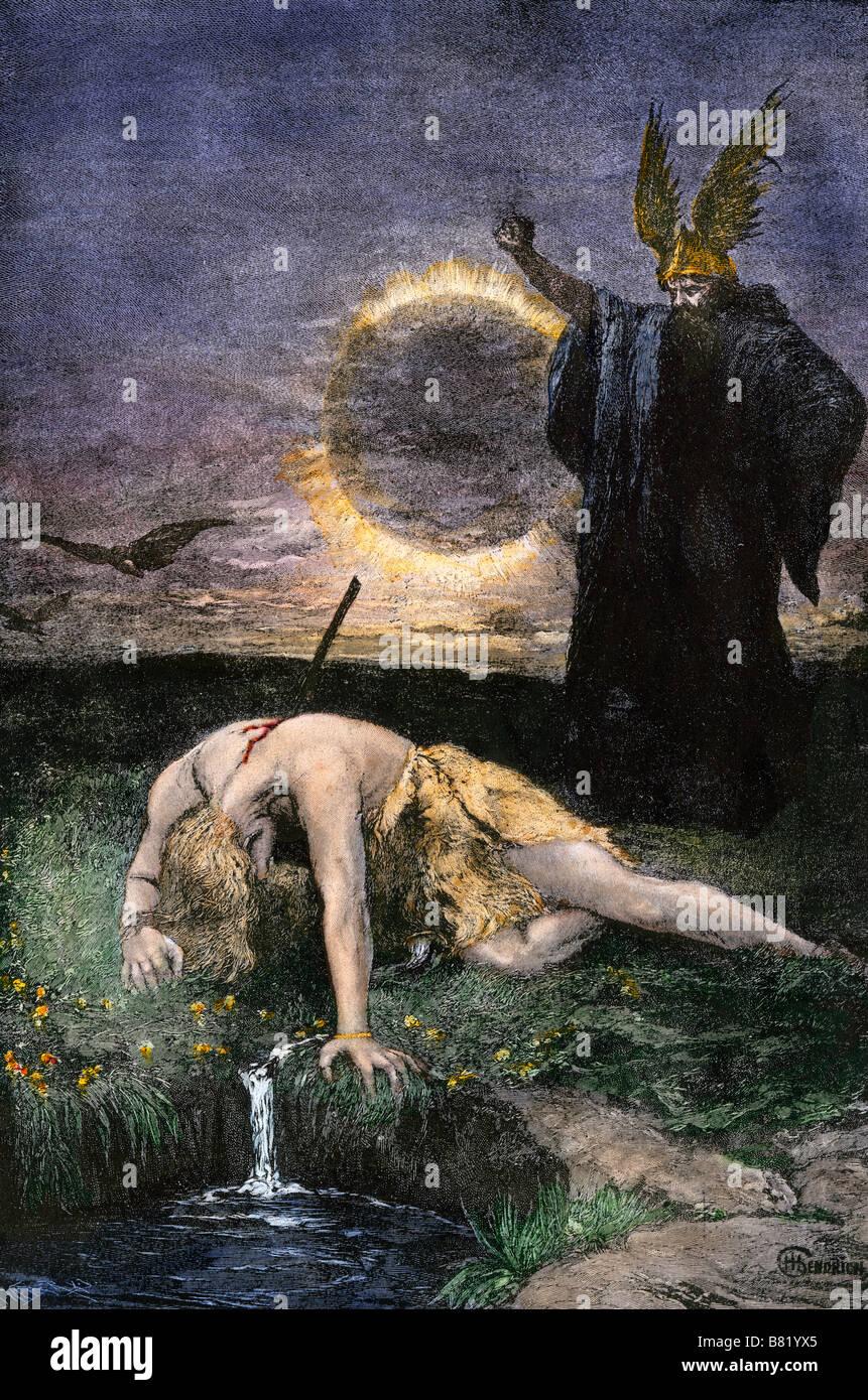 Siegfried der Krieger, von Hagen in Germanischen Legende getötet. Hand - farbige Holzschnitt Stockbild
