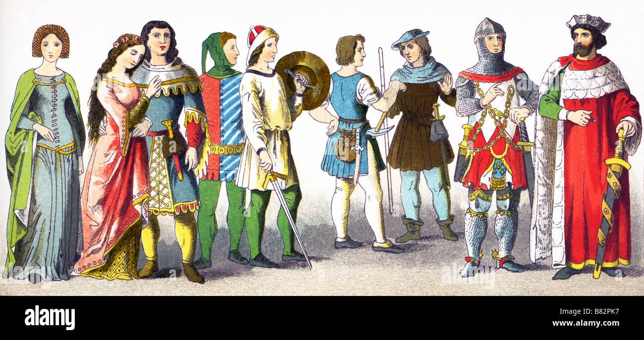 Deutschen, 1300-1350 Stockbild