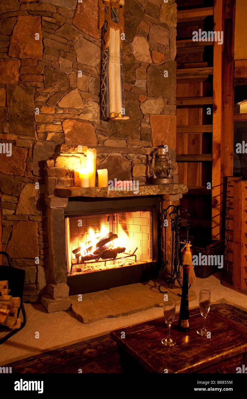 Blaze In Schlafzimmer Kamin, Versucher Haus, Telluride Ski Resort,  Telluride, Colorado.