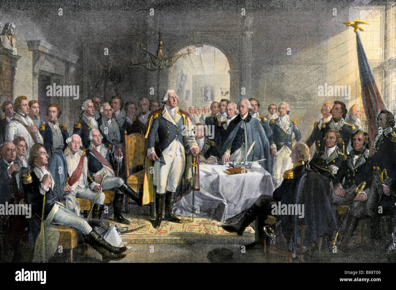 George Washington und seine Generäle während der Amerikanischen Revolution. Hand - farbige Gravur Stockbild