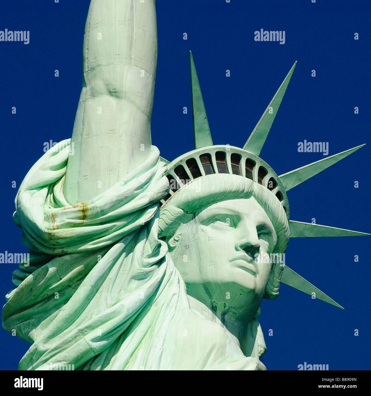 Nahaufnahme von der Freiheitsstatue im New Yorker Hafen Stockfoto