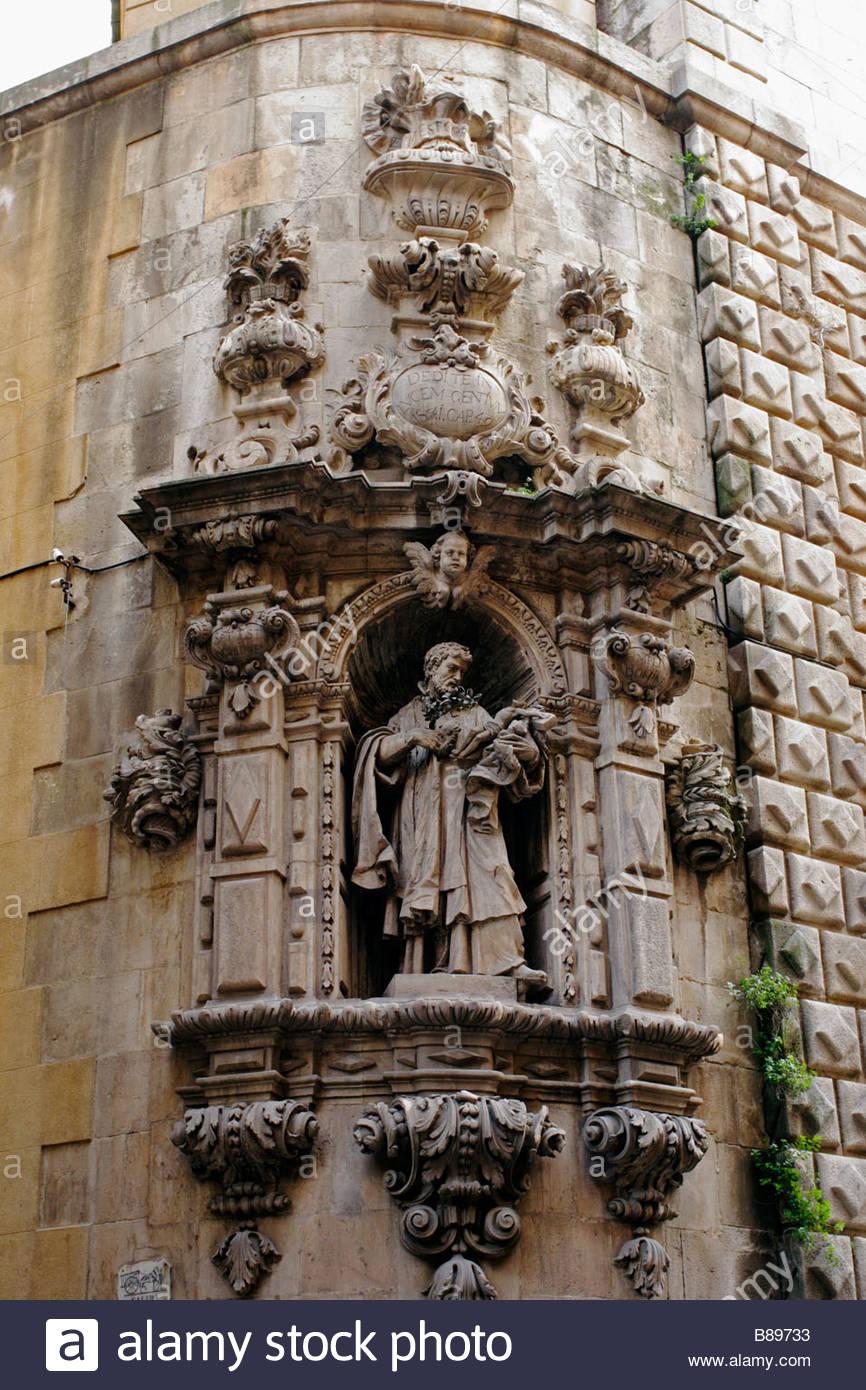Barocke Skulptur auf die Kirche von Bethlehem, La Rambla, Barcelona, Spanien Stockbild