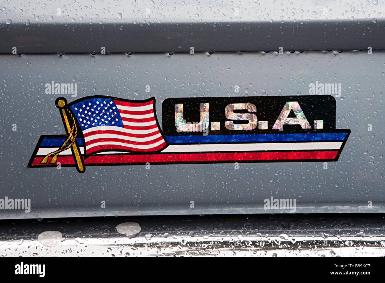 Usa Abzeichen Und Flagge Aufkleber Auf Auto Stockfoto Bild
