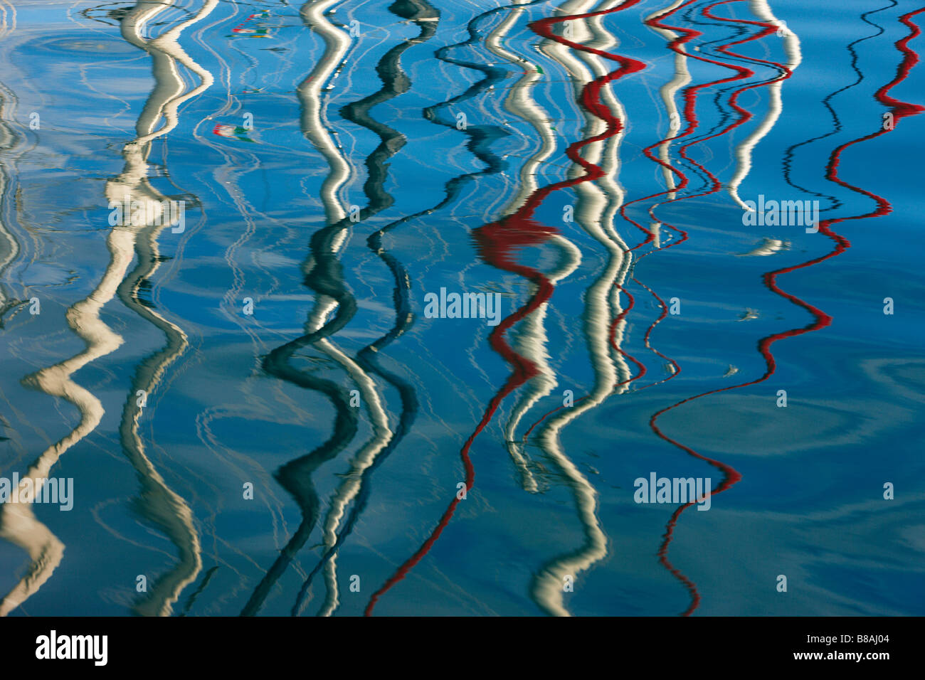 Reflexionen Yachten Trogir Dalmatien Kroatien Stockbild