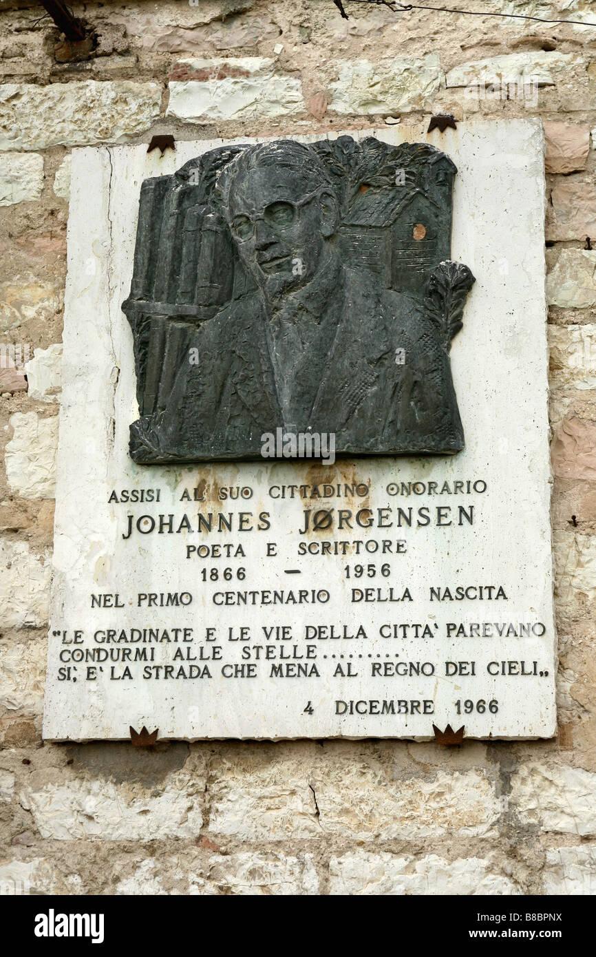 Johannes Jørgensen Denkmal, Assisi, Umbrien, Italien Stockbild