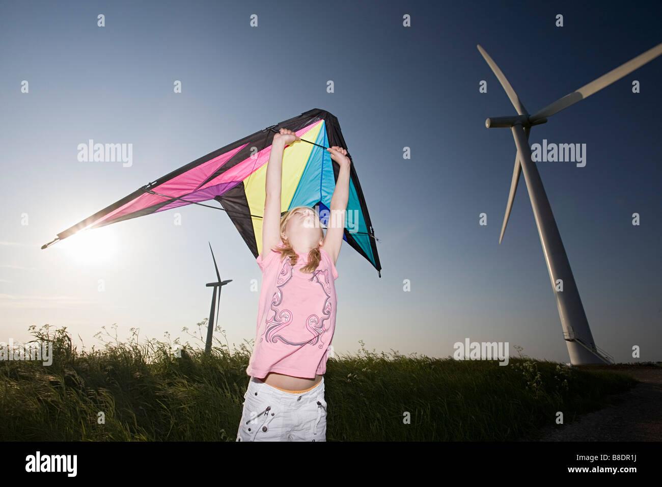 Mädchen mit Kite von Windparks Stockbild