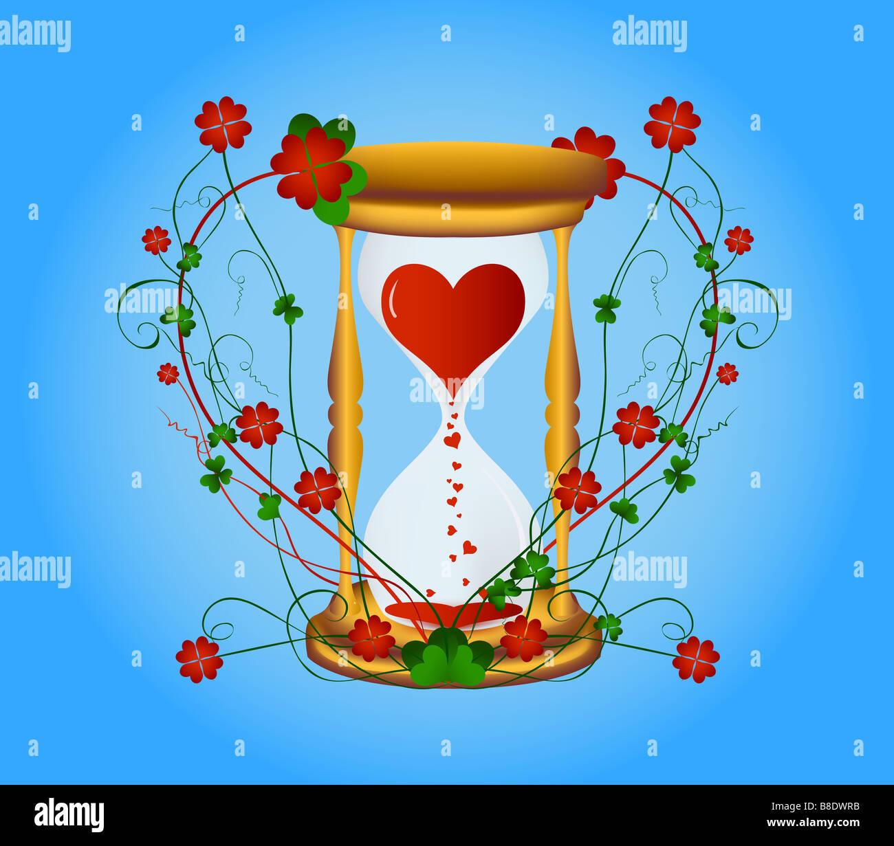 Sanduhr zum Valentinstag mit einem Blumenmuster Stockbild