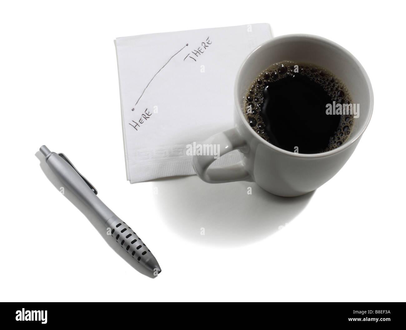 Kaffeetasse und Hinweis auf Serviette geschrieben Stockbild