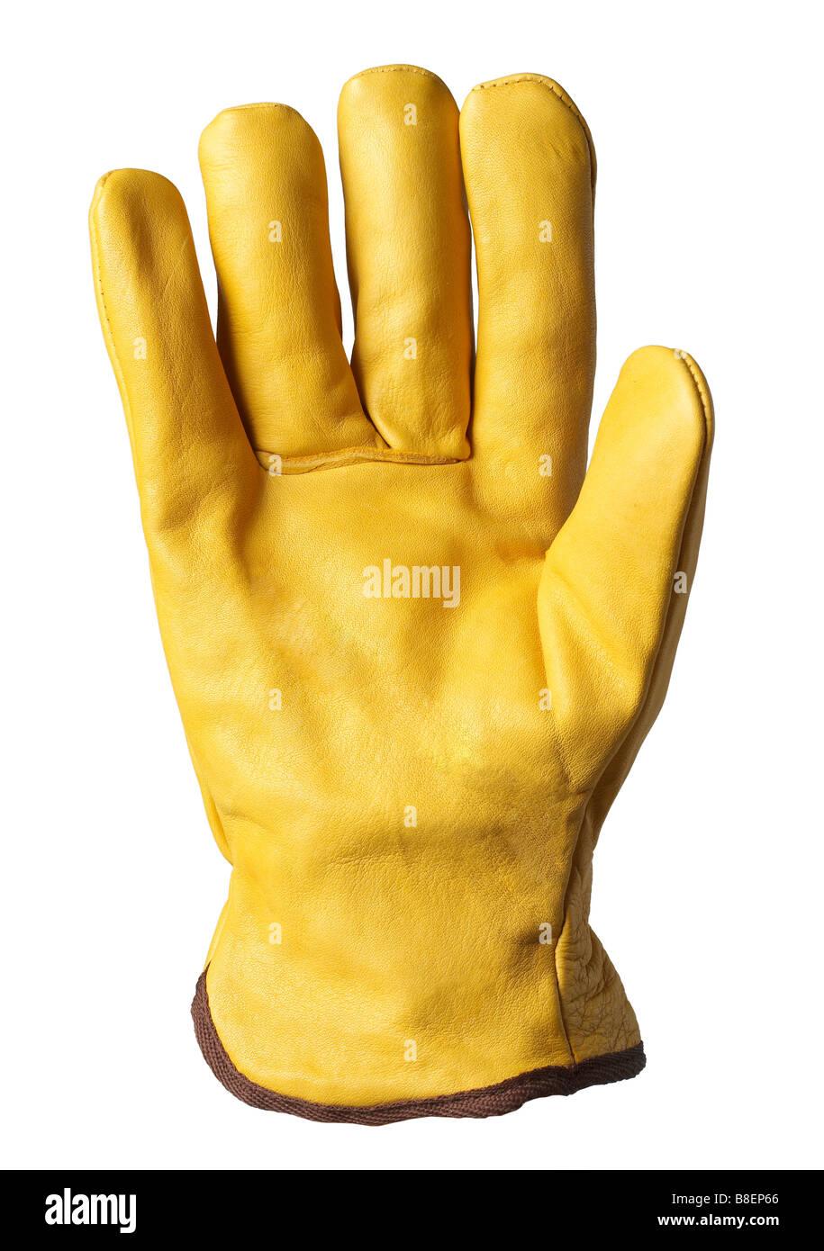Tan Leder Handschuh isolierter Handschuh Handschuh Schutz Finger Daumen hand Stockbild