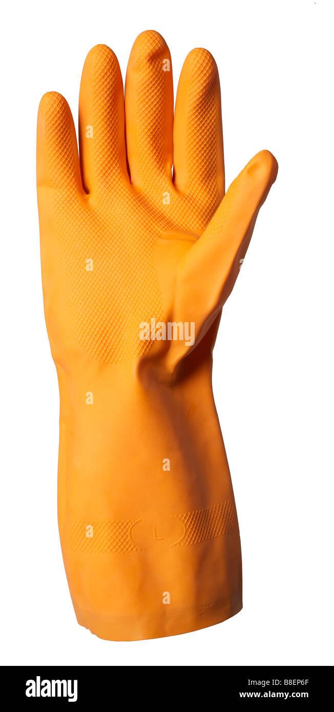 Orange Kautschuk Handschuh isolierter Handschuh Handschuh Schutz Finger Daumen hand Stockbild