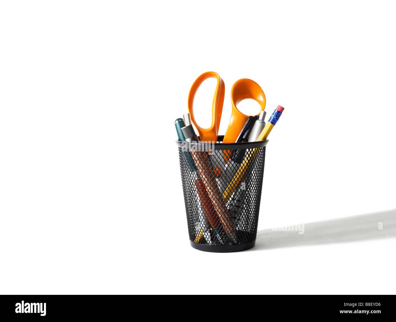 Feder und Bleistift-Halter Stockbild