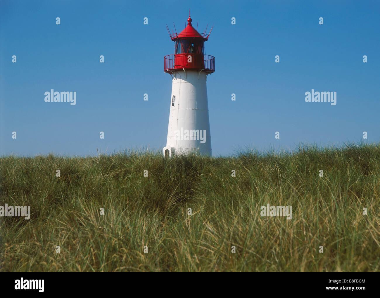 Leuchtturm in der Nähe von Liste, Insel Sylt, Schleswig-Holstein, Deutschland Stockbild