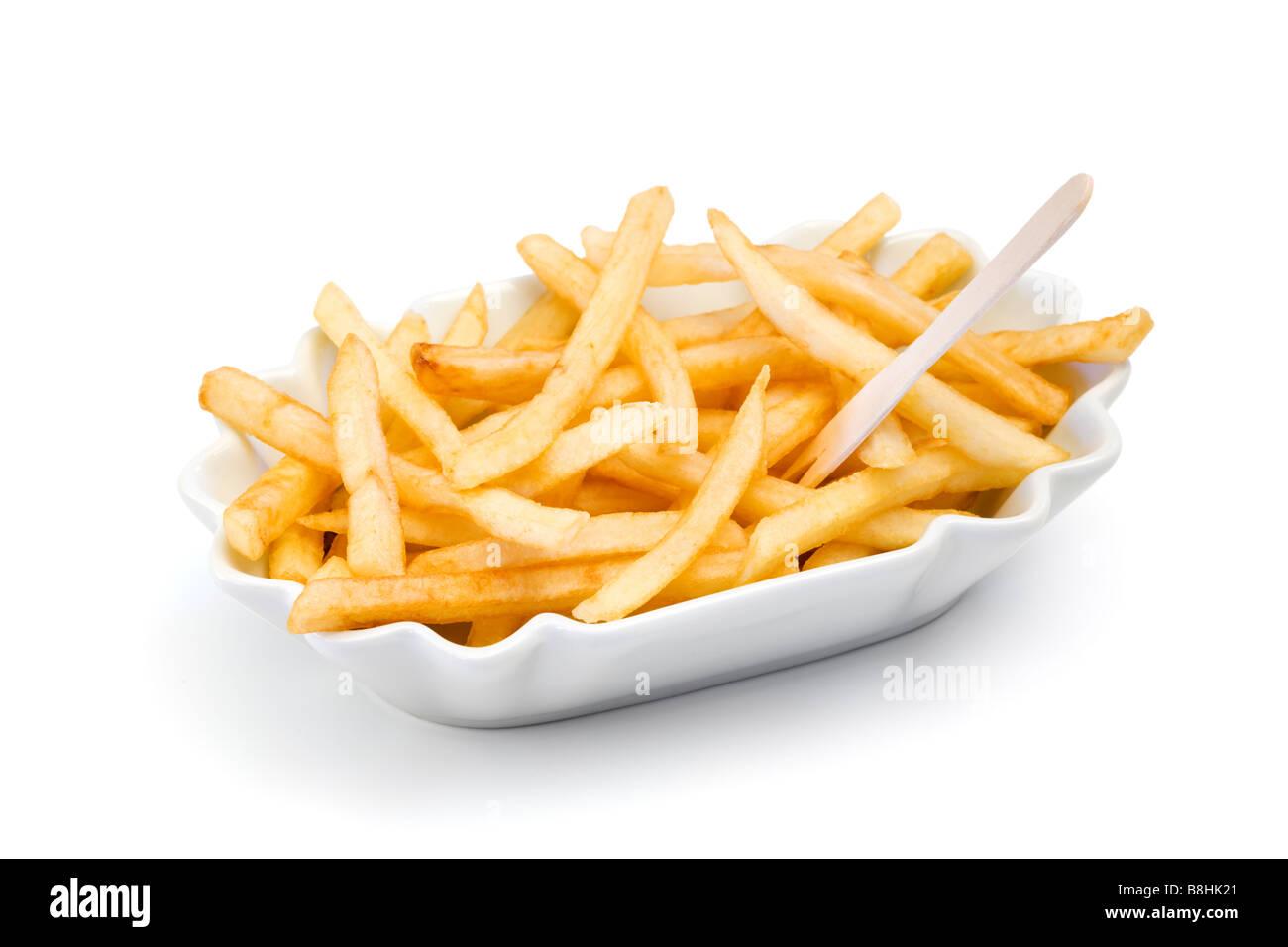 Fastfood Pommes frites in Keramikschale Ausschnitt Stockbild