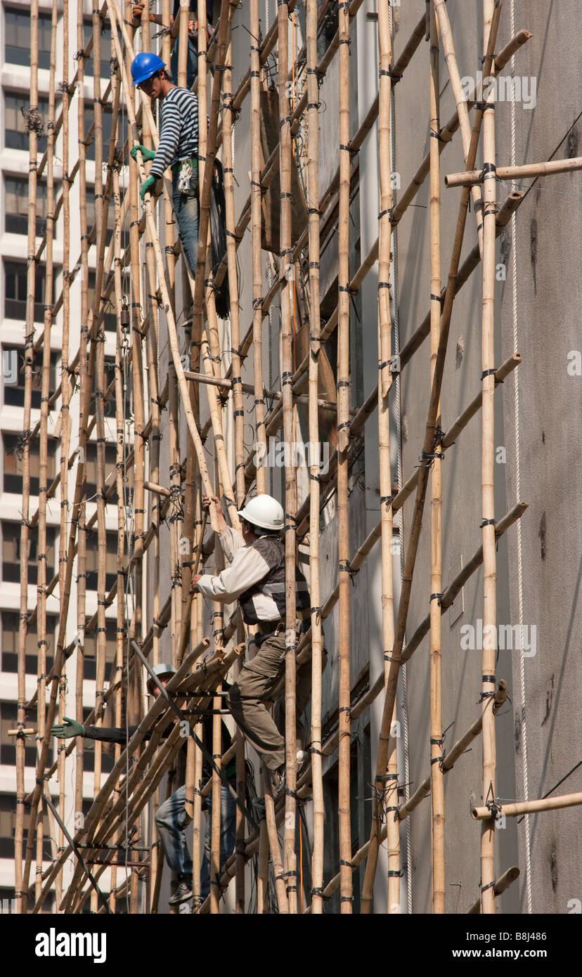 Bambus Gerust Hong Kong Gerust Arbeitnehmer Stockfoto Bild
