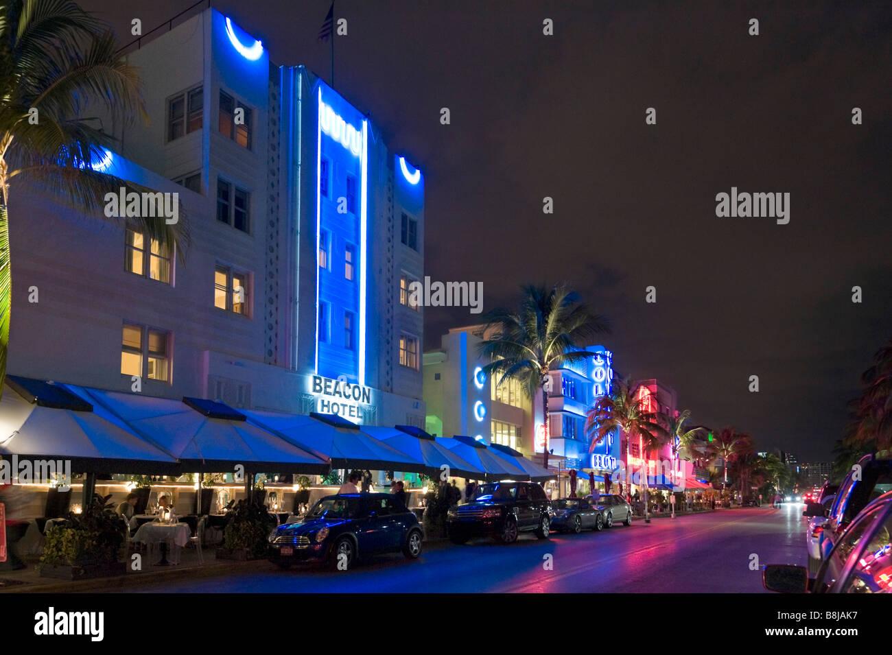Hotels Am Ocean Drive Im Art Deco Viertel In Nacht South Beach