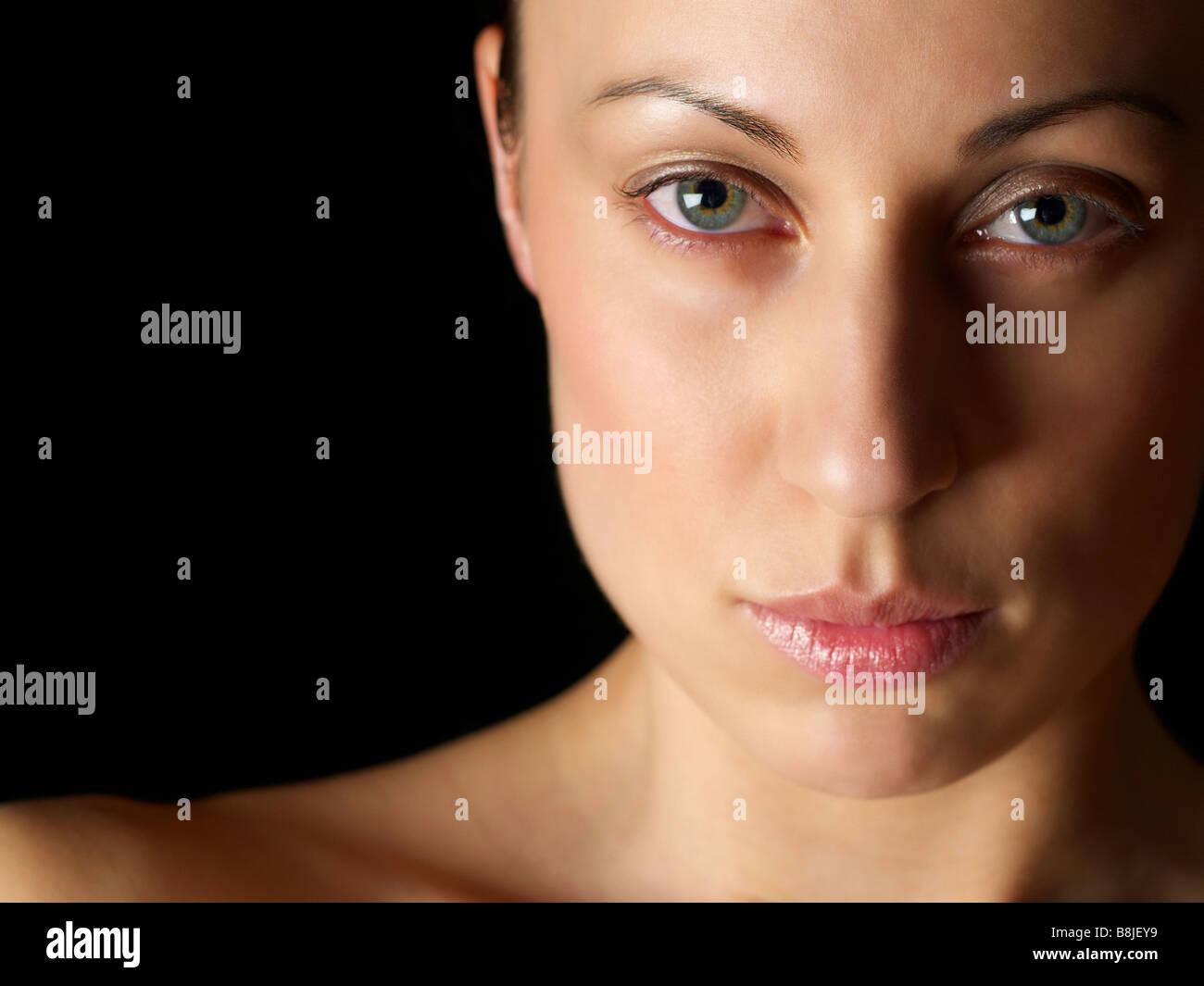 Weibliches Model Kopf geschossen Stockbild