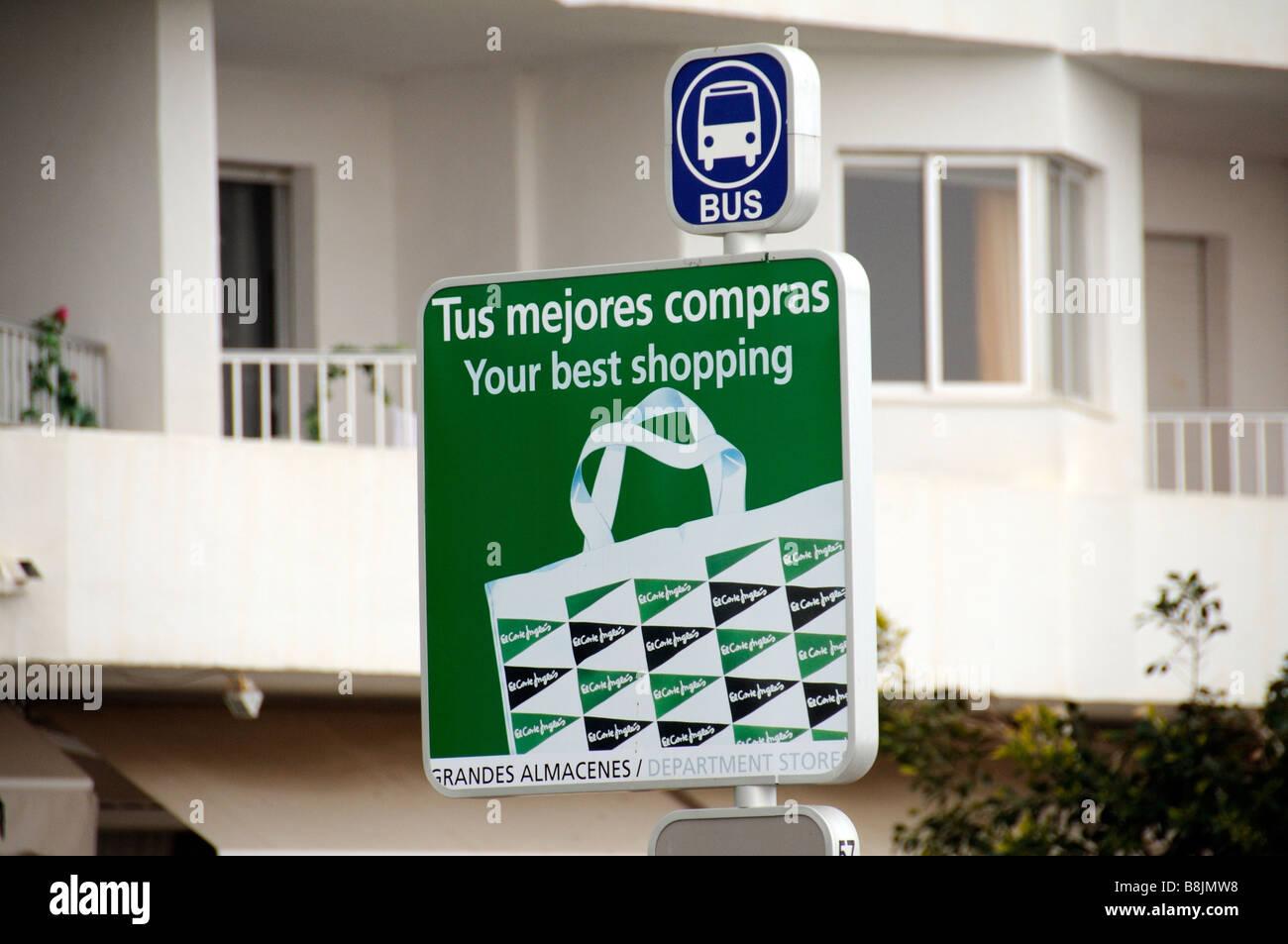 Spanische Bushaltestelle Werbung El Corte Ingles einer großen spanischen  Kaufhaus Stockbild 88821530ec