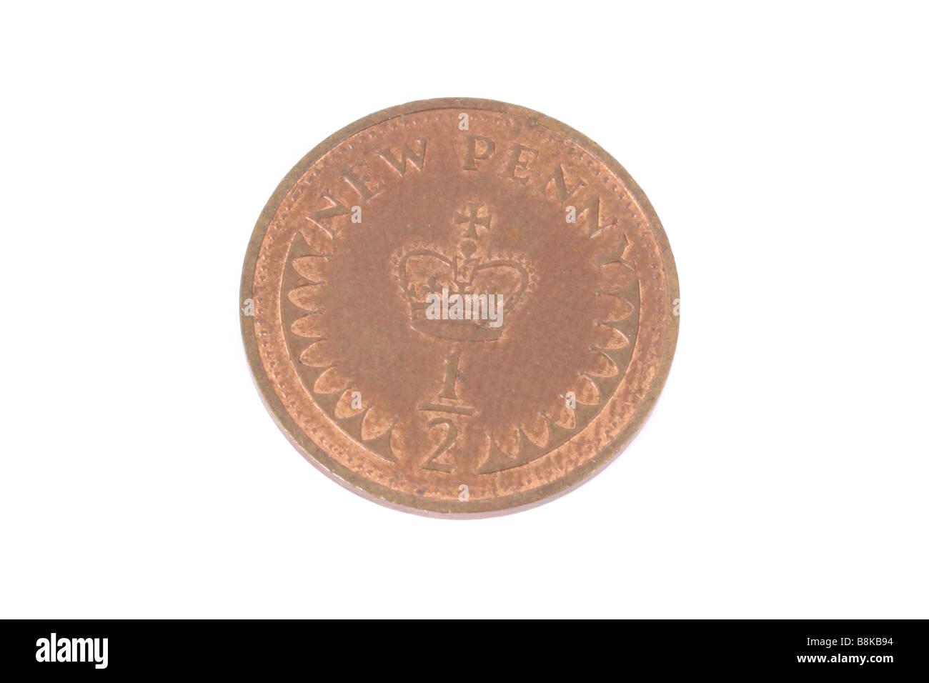 Einen halben Cent Münze englische Münze. Stockbild