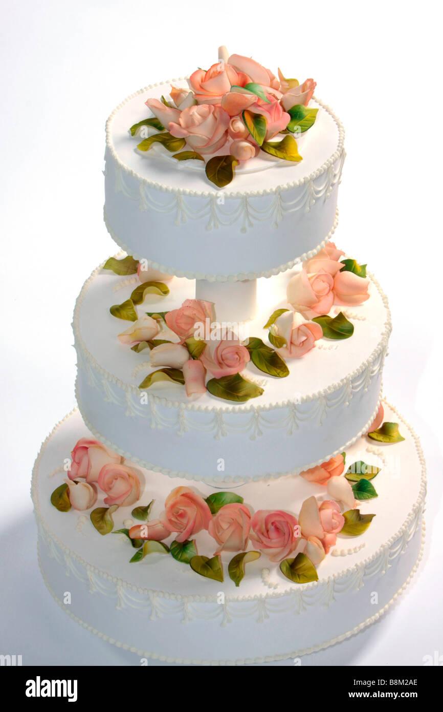 Hochzeitstorte Mit Marzipanrosen Dekoriert Stockfoto Bild 22568518