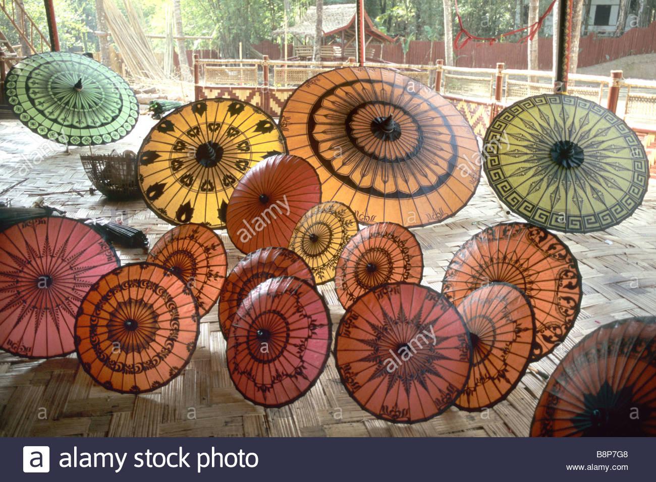 Sonnenschirme, Myanmar, Southest Asien Stockbild