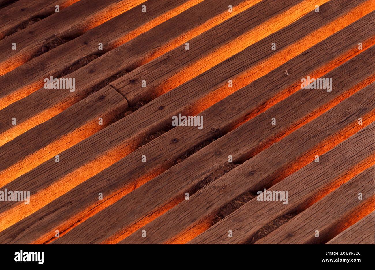 Detail-Holzbohlen Stockbild