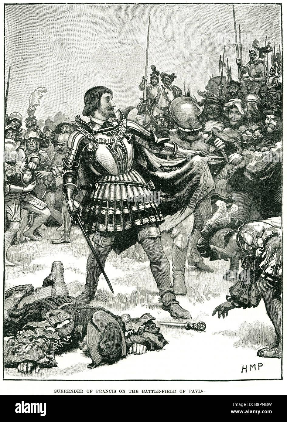 Kapitulation Fracis Schlacht von Pavia 1525 Spanisch-kaiserlichen Armee Charles de Lannoy Französisch Stockbild