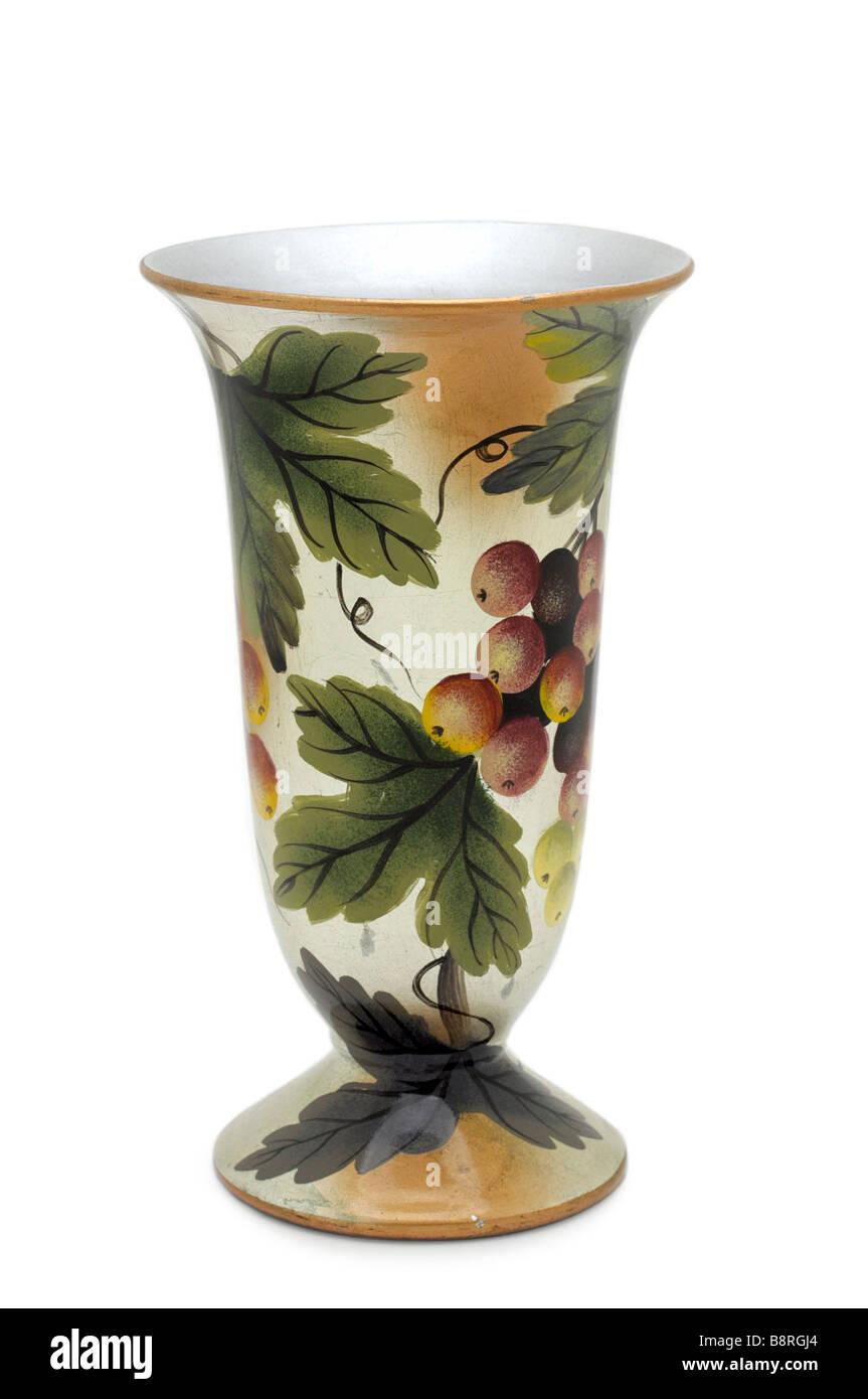 Vase mit Blumen und Obst Muster Stockfoto