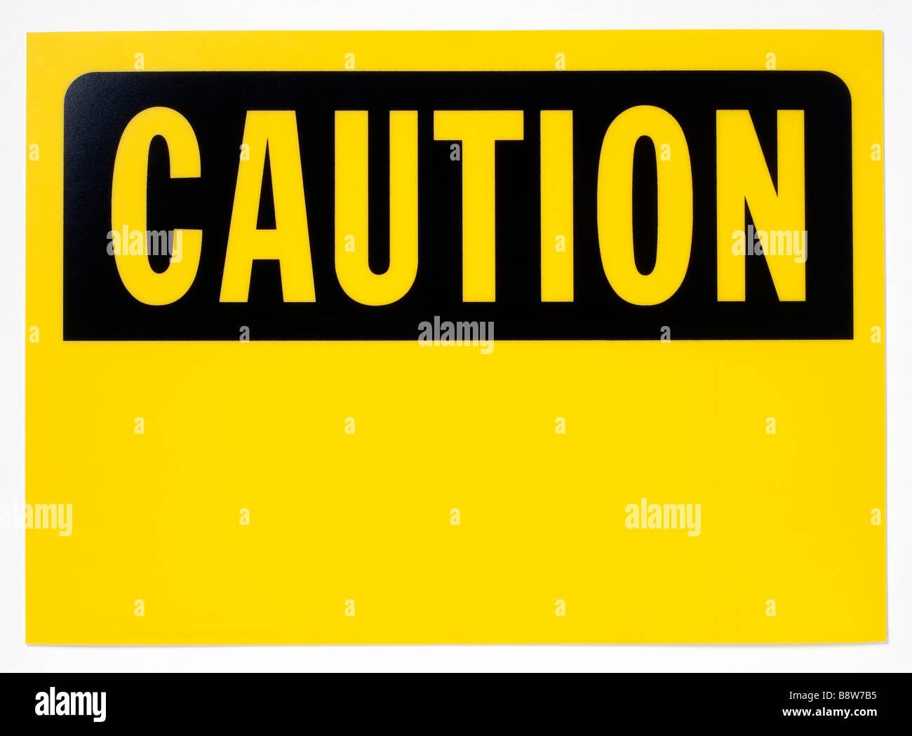 Gelb und schwarz Vorsicht Zeichen Stockbild