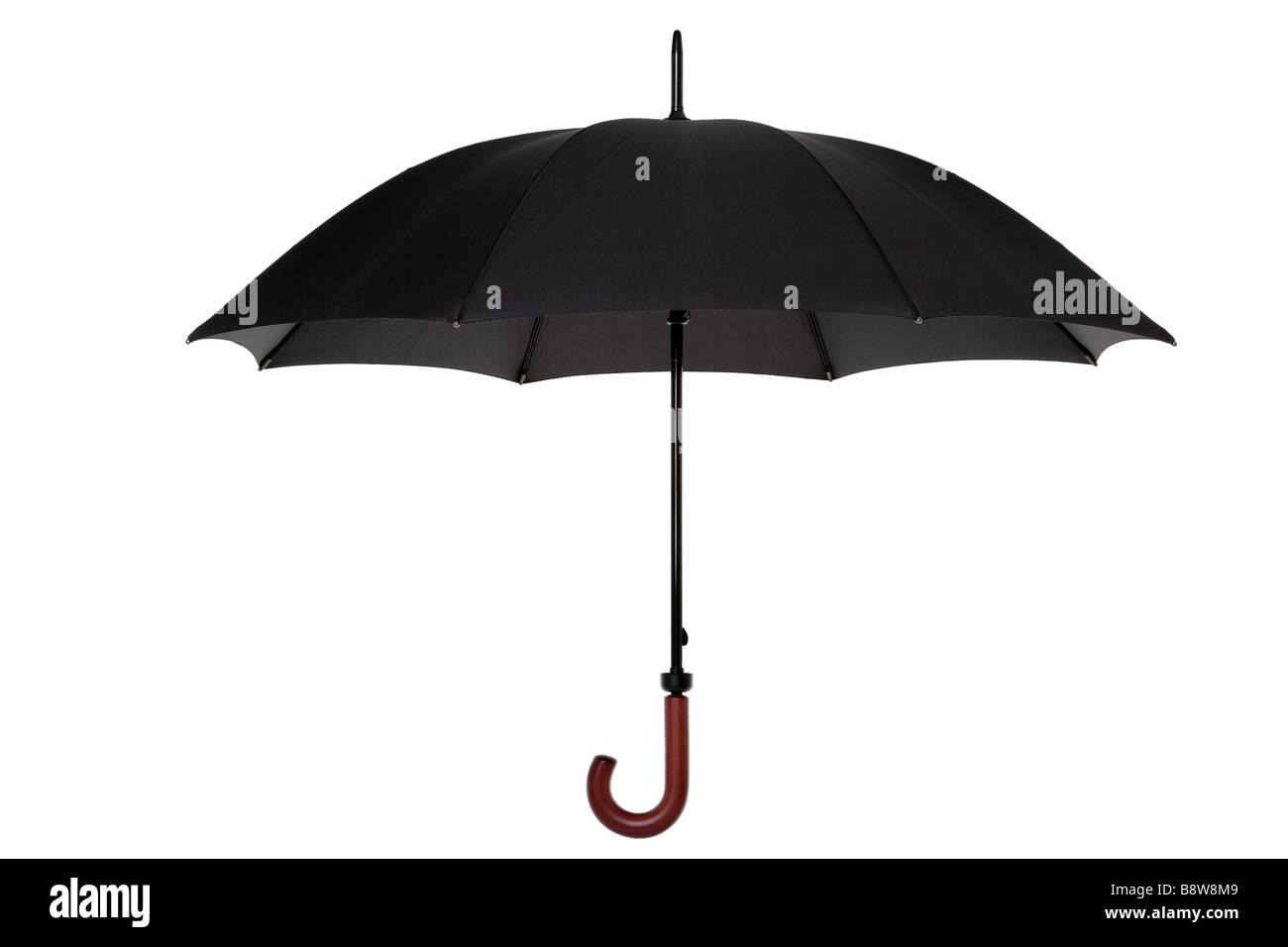 Offenen Schwarzen Regenschirm Mit Holzgriff Isoliert Auf Weissem Hintergrund Stockbild