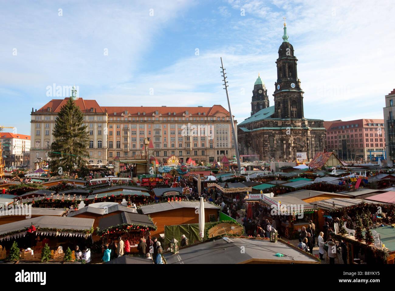 Weihnachtsmarkt Dresden Sachsen Deutschland Stockbild