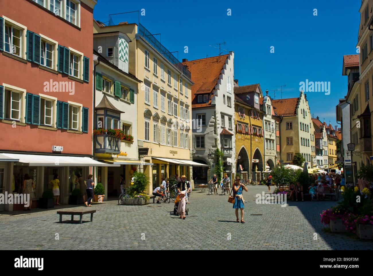Historische alte Stadt Lindau mit Bäckerei Bürklin und Wegelin Zum Pflug-Bayern-Deutschland | Historische Stockbild