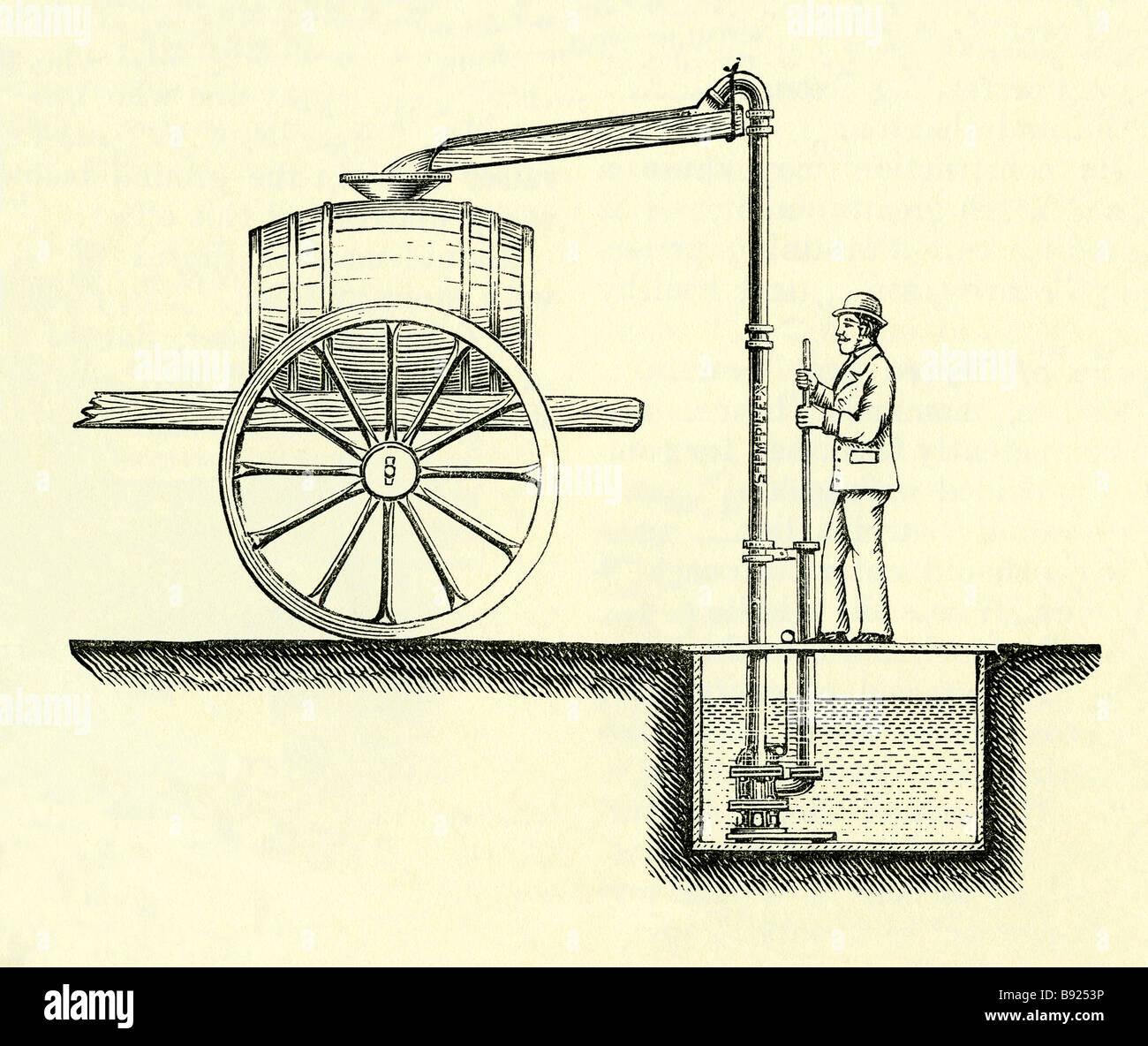 Simplex Wasserpumpe auf der Farm in viktorianischen Zeiten verwendet Stockbild