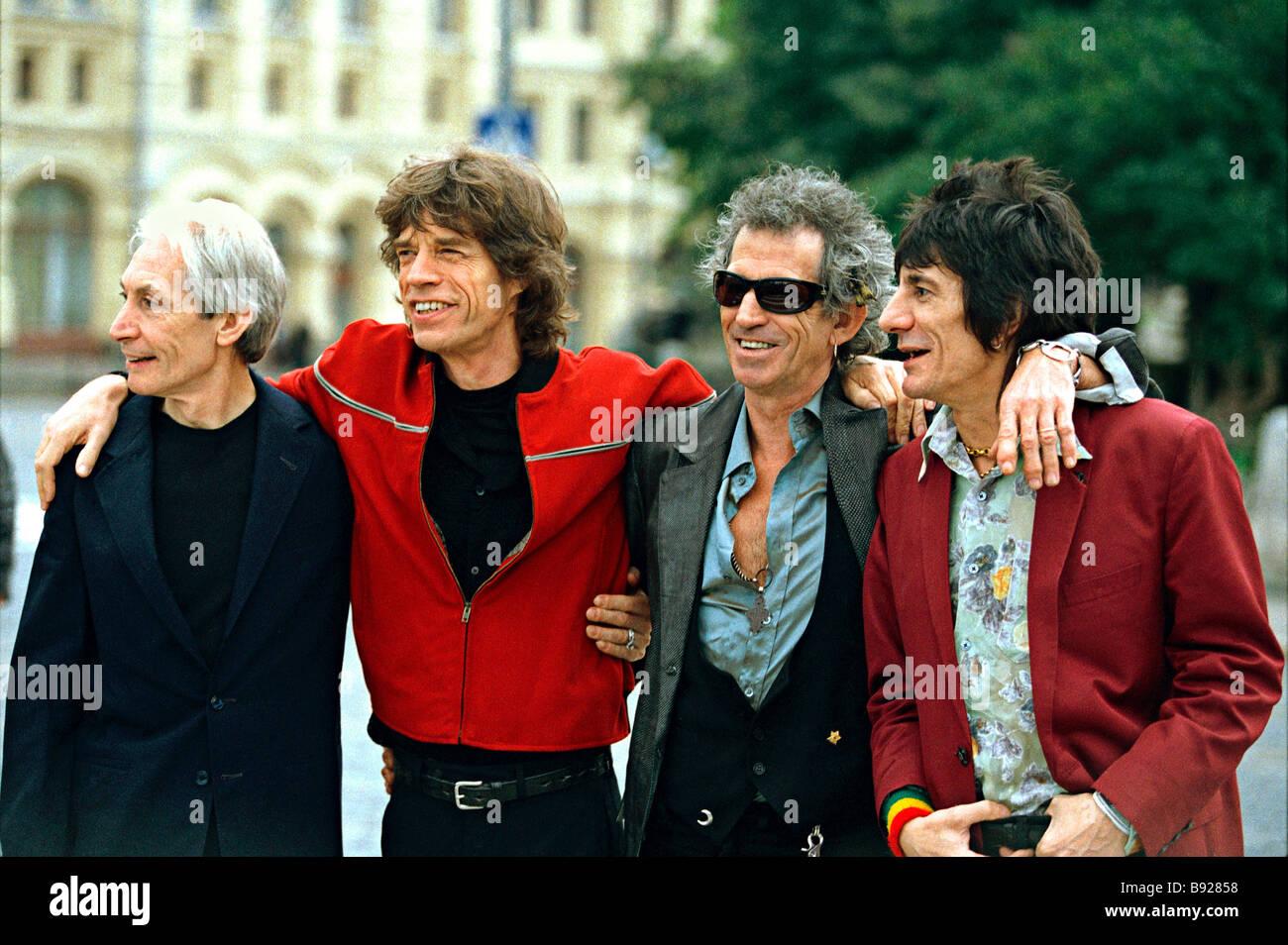 Rolling Stones legendären Rock-Veteranen in Moskau Stockbild