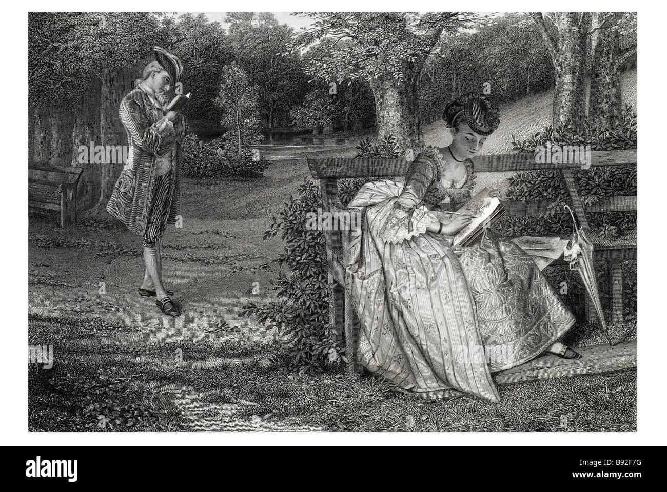 Unfall oder Design, dass Lady Buch Bäume Kostüm Künstler bench Kleid Waldpark Obstgarten Zeitraum Stockbild