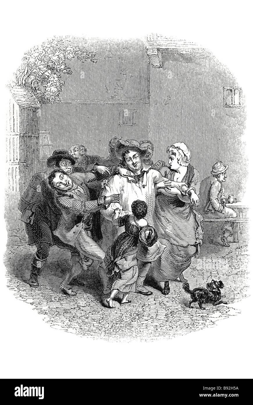 Zeitraum Kleid Männer Mann Frau Kind gepflasterten Straße kämpfen ...