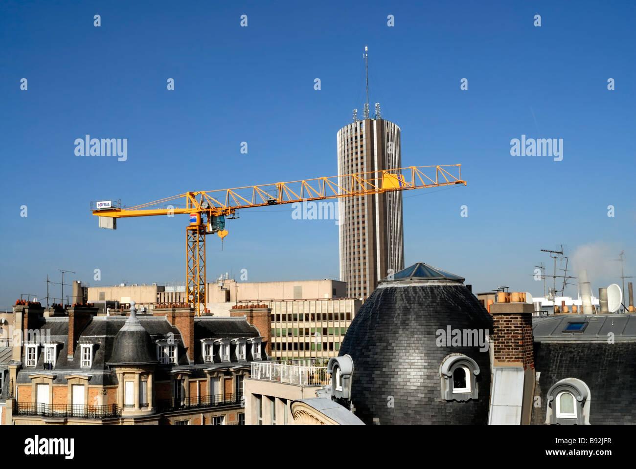 Paris, Frankreich, Wohn- Architektur, Gebäude (in der Nähe von Porte Maillot) skyscraper Hotel baukran, Stockbild