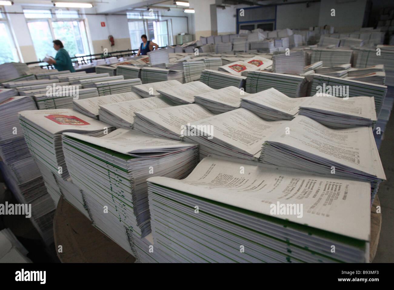 Ausgabe im vergangenen Jahr durch die Aktiengesellschaft Moskau Lehrbücher und Karte erstellen Stockbild