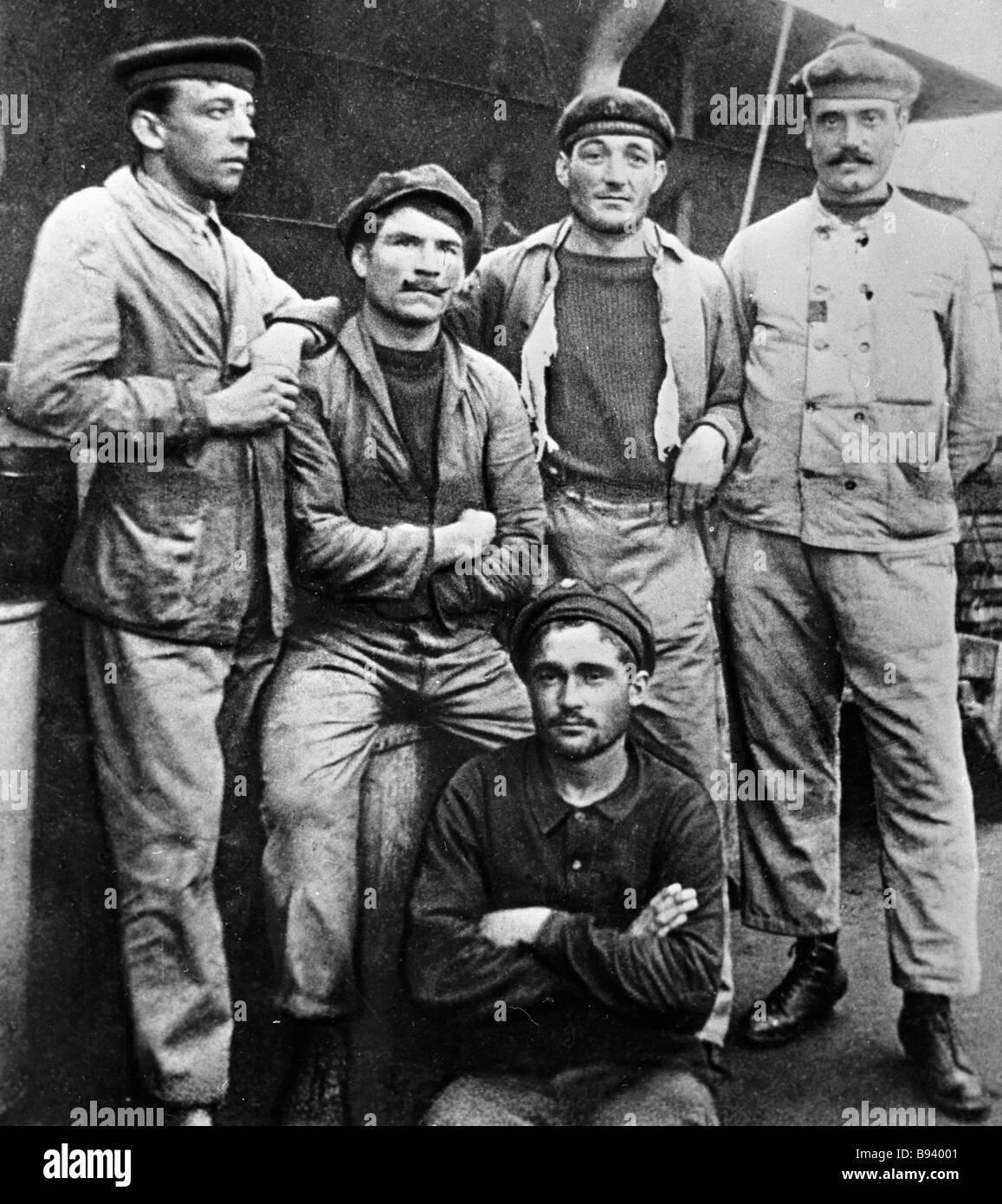Segler aus dem französischen Schlachtschiff Frankreich eine Rebellion auf die französische Flotte in Sewastopol Stockbild